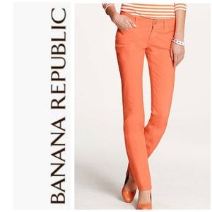 Banana Republic Sun Glow Orange Skinny Ankle Jeans